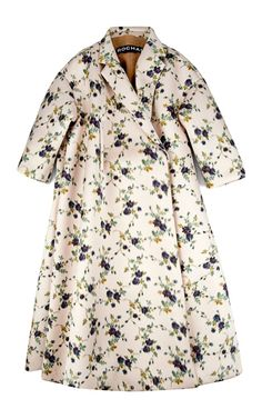 Rochas Floral Duchesse Chine Oversize Coat