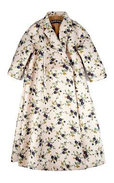 Rochas Floral Duchesse Chine Oversize Coat