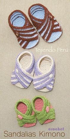 #Crochet paso a paso: sandalias #Kimono (unisex en 3 tallas) Video tutorial :)
