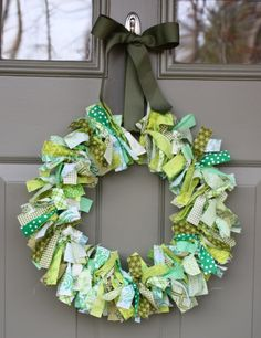 Green Scrappy Rag Wreath   AllFreeHolidayCrafts.com