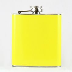 @ShopAndThinkBig.com - WE CAN CREATE THIS FLASK IN ANY COLOR YOU WANT AT NO ADDITIONAL CHARGE! This high quality 6oz yellow hip flask is made from metal (food grade stainless steel.) The yellow coating is a durable vinyl wrap that will not peel or fade easily. The rich yellow is created using a high-tech $25,000 printer that allows full continuous color all the way around the flask with even ink distribution fo……