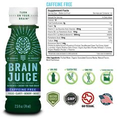 BrainJuice Brain Booster Vitamins Memory Focus Supplement Shots Brain On Enhance IQ Clarity Memory Mood Alpha GPC Choline Green Tea Extract Energy Supports Concentration Factor 12 Pack Box * Check this awesome product by going to the link at the image. (This is an affiliate link) Pantothenic Acid, Green Tea Extract, Caffeine, Energy Drinks, Clarity, Brain, Vitamins, Facts, Memories
