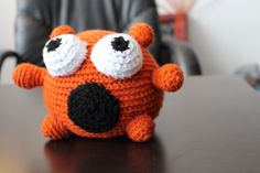 Orange amigurumi monster, $22.0