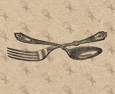 Vintage Cutlery Spoon Fork Instant Download picture Digital printable antique… #hq #png #bw #Ephemera #diy #old #book #illustration #gravure #transfer #decor #hand #digital #collage #scrapbooking #quality #inspiration #retro #antique #vintage #300dpi #craft #draw #drawing  #black #white #printable #crafts