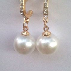 Crystal & Pearl Drop Earrings 9k yellow gold filled AAA quality Crystals. New! Jewelry Earrings