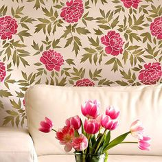NEW  Japanese Peonies Floral Pattern by CuttingEdgeStencils, $44.95