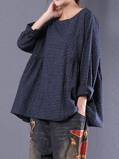 Loose Plaid Long Sleeve O-Neck Blouse For Women - Newchic Mobile #blousesforwomen