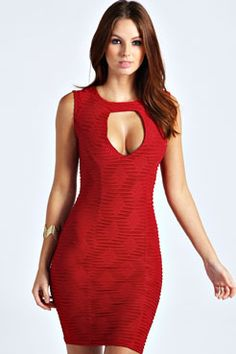 Amber Textured Keyhole Bodycon Dress