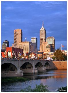 Skyline of Indianapolis, Indiana, stayed in an old railway car at Crowne Plaza hotel and attended the International Violin Competition in Indianapolis the year that Augustin Hadelich won (2006)