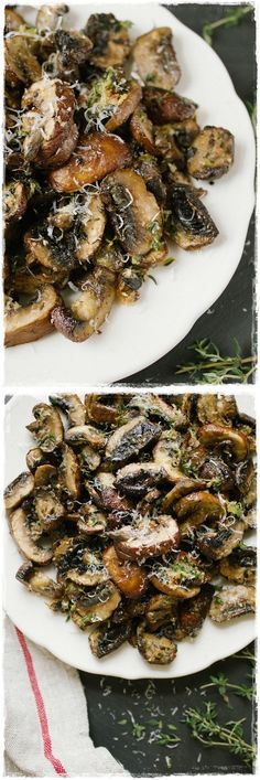 Baked Lemon and Thyme Mushrooms. I'd make these with a bit of butter or ghee, and might make it a meal by throwing in some snails near the end, but that's what comes of having been married to a man from Montreal forever! I'd also skip the cheese in favor of nutritional yeast, for taste and better diet.