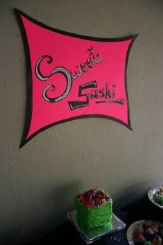 ASH Bash: our sweet sushi sign, we went for the loooooooomo look