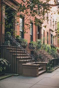 Brownstone Buildings In Brooklyn, New York. Iron work and stone steps provide a seat for you and Airbnb together in Brooklyn, NYC. Ville New York, Voyage New York, Empire State Of Mind, Brooklyn Heights, 3d Home, Concrete Jungle, City Living, Best Cities, Mykonos