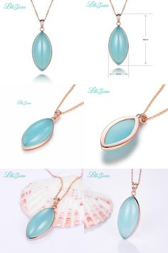 [Visit to Buy] l&zuan new Romantic  925 Sterling Silver Natural Chalcedony Blue Stone Leaf Necklace & Pendant  For Woman Gift With Silver Chain #Advertisement