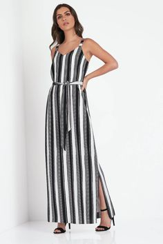Monochrome Stripe Maxi Dress - Free UK Delivery - 10 12 14 16 18 20 - - Romanoriginals.co.uk