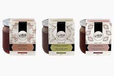 Graphic design for Callas Confiture - sleeves Packaging Design, Artisan, Wraps, Van, Fruit, Coffee, Graphic Design, Vegetables, Sleeves