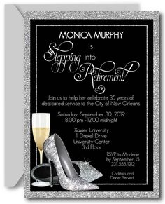 Silver Glitter Shoes Adult Birthday Party Invitations, High Heel Birthday Invitation, Stepping into 60 Retirement Party Invitations, Retirement Parties, Bridal Shower Invitations, Birthday Invitations, Silver Glitter Shoes, Adult Birthday Party, 60th Birthday, Printable Invitations, Thank You Cards