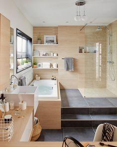 Salle de bains Bois Noir et blanc THALA Naturel / Authentique