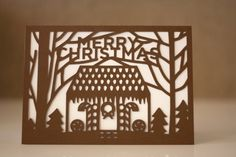 Gingerbread House Cut Paper Christmas Card. $5.00, via Etsy.