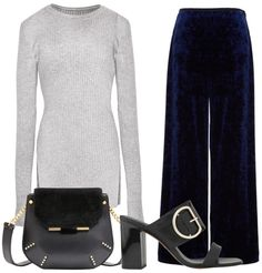 When comfort is key, a knit tunic looks great atop textured trousers—sleek accessories up the professional factor. Grey Skinny Ribbed Long Sleeve Top, Pixie Market $82 Stretch Velvet Easy Pants, Tibi $295 Bonnie Bag, Sandro $645 Fairhope Buckle High Sandal, Whistles $310