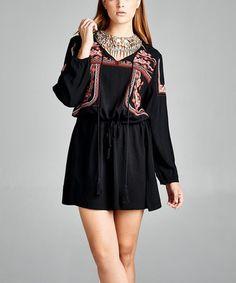 Look what I found on #zulily! Black Geo Tassel-Tie Blouson Dress #zulilyfinds