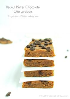 Peanut Butter Chocolate Chip Larabars are cheap, easy, & super healthy! Perfect for a quick breakfast, easy snack, or lunch box dessert! Gluten + dairy free