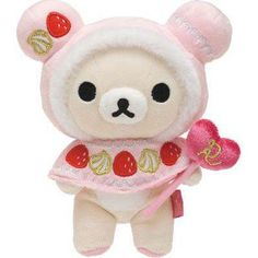 "By San-X from Japan Korilakkuma from the Collection ""Rilakkuma Cupcake"" Series Korilakkuma in Strawberry Cupcake costume. Authentic Product from San-X"
