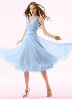 Abiballkleider - $105.47 - A-Linie/Princess-Linie V-Ausschnitt Knielang Chiffon Abiballkleid mit Rüschen Perlenstickerei (0185057421)
