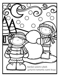 kış eksik tamamlama etkinliği Preschool Coloring Pages, Coloring Book Pages, Coloring Pages For Kids, Coloring Sheets, Winter Colors, Winter Theme, Bible Doodling, Envelope Art, Daycare Crafts