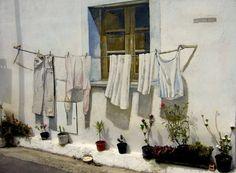Panni Stesi - Autore: Luciano Lixi - Anno: 1996 Sardinia, Graffiti, Street Art, Art Deco, Illustration, Painting, Heart, Window, Urban Art