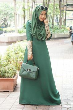 Jorget Silk Umbrella Floor Length Floral Hash Tag Net Sleeve Abaya for Professional Ladies
