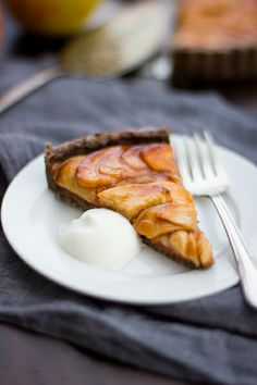 Apple Quince Tart with Buckwheat Crust {Gluten-Free, Vegan -- sub agave or maple syrup for honey and use vegan butter}