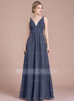 [US$ 116.69] Empire V-neck Floor-Length Chiffon Bridesmaid Dress With Ruffle (007105579)