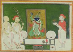 UEA 577 Sri-nath-ji with attendant priests c. 1850 India, Rajasthan, Nathdwara School Acquired 1974