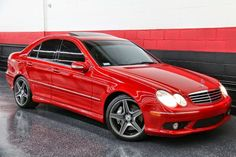 """Mars Red 2005 Mercedes-Benz W203 C55 AMG on 18"""" AMG Double Spoke Alloy Wheels"""
