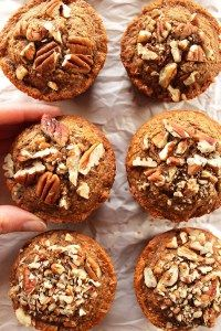 Spiced Carrot Muffins - Tender muffins packed with carrots, raisins, and topped with pecans. EASY to make! Gluten free/Dairy Free! | robustrecipes.com Gluten Free Muffins, Healthy Muffins, Gluten Free Baking, Gluten Free Desserts, Dairy Free Recipes, Healthy Baking, Healthy Desserts, Vegan Muffins, Vegan Sweets