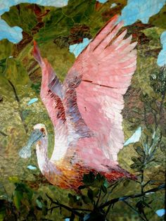 Roseate Spoonbill by Mozaic Arts' resident artist Linda Kunz