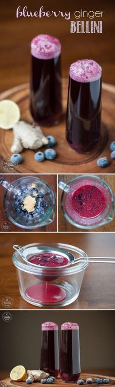This gorgeous Blueberry Ginger Bellini uses blueberries & blueberry juice paired with fresh ginger to make a refreshing non-alcoholic or boozy cocktail.