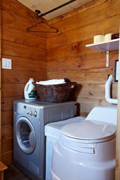 Nomads Nest Tiny House by Wind River Tiny Homes - yay!  laundry