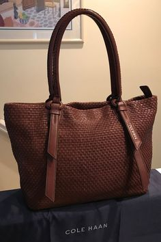 Cole Haan Genevieve Woven Leather Bethany Weave Sequoia Tote Hand Bag Purse EUC! #ColeHaan #TotesShoppers GORGEOUS!!! LIKE NEW!!! BEAUTIFUL WOVEN LEATHER BETHANY WEAVE BAG IN A STUNNING, RICH SEQUOIA BROWN COLOR!!! ONLY ONE!!! SALE!!! WOW!!!
