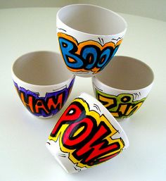I love these modern comic style sake cups - for a party with Zing :)