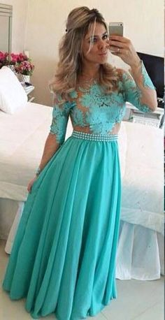 A-Line Long Sleeves Lace Prom Dresses 2016 Chiffon Floor Length Evening Dresses with Beadings