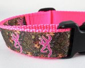 Medium Pink Camo Browning Inspired Dog Collar