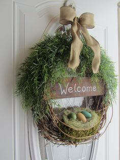 """Spring Door Wreath- SELL. chalkboard """"welcome"""" sign. But use our own sayings at the auction."""