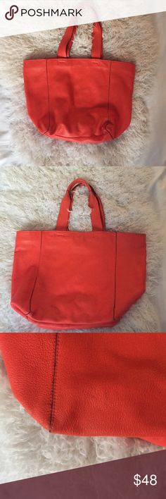 Gap Leather Tote bag Cow leather | so adorable | there is a mark on bottom and side as I was cleaning it |  these are hard to see unless up close| inside has pen marks|  other than that it has been well taken care of | GAP Bags Totes