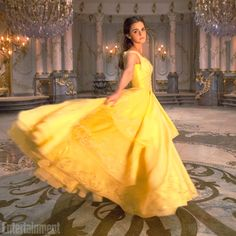 Emma Watson stuns as Belle in the iconic yellow 'Beauty and the Beast' dress.