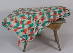 Turquoise & Coral Crocheted Afghan / Zigzag by 13thStreetEmporium, $30.00