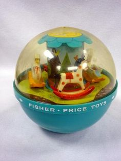 VINTAGE 1966 FISHER PRICE ROLY POLY CHIME BALL TOY ROCKING HORSES SWANS