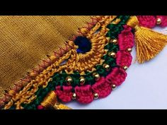 Bridal Saree Kuchu-Tassels ಸೀರೆ ಕುಚ್ಚು / How to make bridal Saree kuchu-Home Tutorial for beginners - MyStyles Saree Kuchu New Designs, Saree Tassels Designs, Saree Blouse Neck Designs, Crochet Edging Patterns, Crochet Lace Edging, Wedding Accessories For Bride, Half Saree Lehenga, Hand Embroidery Designs, Bridal