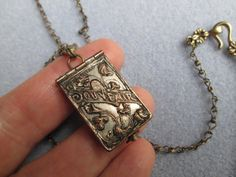 Book Club Necklace with Vintage French Antique WWII Souvenir Locket on Antique Brass Ladder Chain on Etsy, $145.00
