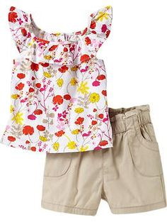 Printed Flutter-Sleeve Top and Short Sets for Baby   Old Navy